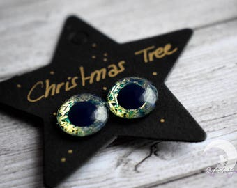 """Glitter """"Christmas Tree"""" - 13mm animal Pullip Eyechips eyes painted by hand!  Limited Edition!"""