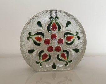 Large Walther Glas Vintage Solifleur Vase with Red/Green decor