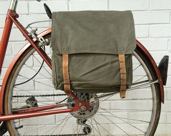 25% OFF Yugoslavian Military Surplus Backpack Vintage Bicycle Pannier 1970's Green Canvas