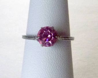 Sterling silver pink rhinestone solitaire antique engagement ring Edwardian Art Deco circa 1920 size 5