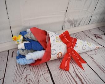 Boy Baby Bouquet | Unique Baby Shower Gift | Baby Washcloth Bouquet | Baby Boy Gift New Parent Gift | Washcloth Flowers | Baby Shower Decor
