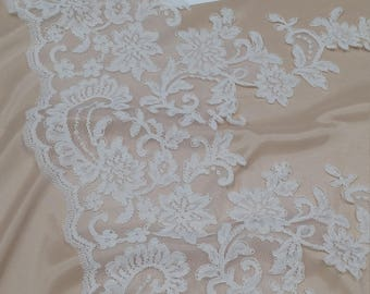 Ivory Lace Trimming, French Lace, Alencon Lace, tablecloth, Bridal Gown lace, Wedding Lace, White Lace, Veil lace, Garter lace EEV2129