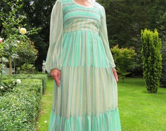 Vintage 1970s Green Goddess Candi Jones of California Minty Striped Maxi Dress with Balloon Sleeves and Elasticated Bust