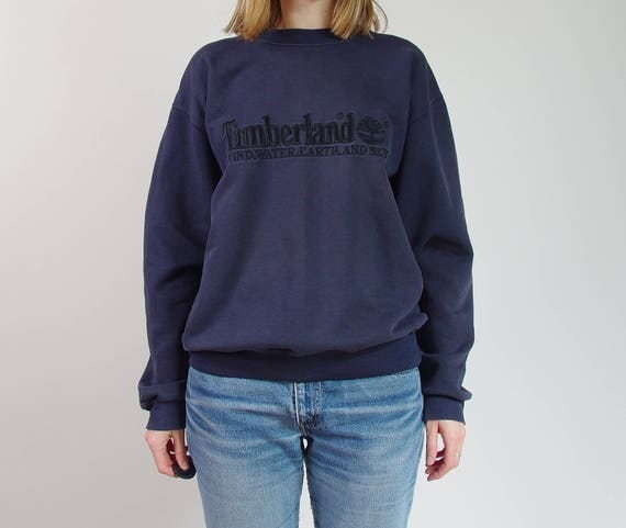 Vintage Timberland Weathergear distressed oversized unisex embroidered sweatshirt