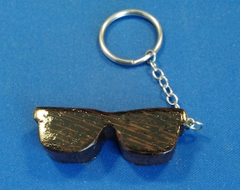 "Handcrafted wood ""shades"" key chain"