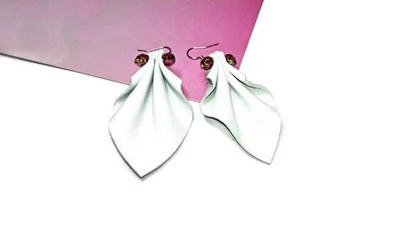 White leather long dangle geaometric drop earrings for woman