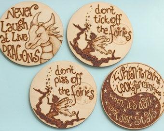 Fairy, Dragon or good advice fridge magnet or coaster