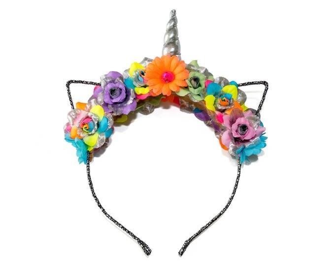 Neon Rainbow Mewnicorn Cat Ear Headband