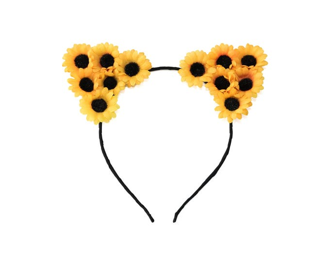 Sunflower Cat Ear Headband