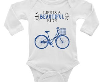 Life is a Beautiful Ride Blue Bicycle Baby Boy Infant Long Sleeve Bodysuit