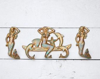 Mermaid Hooks, Nautical Hooks, Mermaid Bathroom Decor, Beach Bathroom Decor, Mermaid Decor, Coastal Wall Decor, Nautical Home Decor