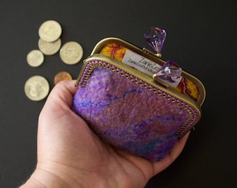 Purple small purse - handmade felt purse - card ID wallet - large change purse - kiss lock purse frame - jewel clasp- matching cotton liner