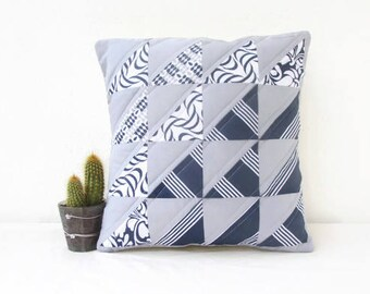 Patchwork cushion cover, modern quilting, patchwork pillow cover, blue grey pillow cover, small quilted cushion, handmade in the UK