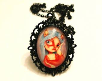 Black necklace with print of Miss Fur, art by Susann B. Nilsen. Cameo, pendant, fox, nickel-free, cartoon, lowbrow, big eyes, friend gift