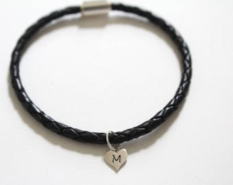 Leather Bracelet with Sterling Silver M Letter Heart Charm, Silver Tiny Stamped M Initial Heart Charm Bracelet, Letter M Charm Bracelet, M