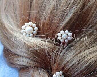 Decorative hair pins trio pearl ivory daisy floral vintage bridal wedding accessory