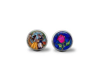 Beauty & The Beast with Rose Earrings