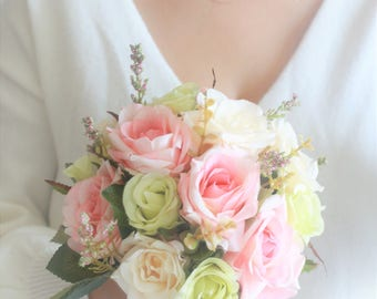 Wedding Bouquet Bridal Rustic Bridesmaid Blush Pink