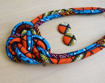 African Print Necklace & Earrings, Bijoux Africains, Textile Necklace, Fabric Stud Earrings, Afro Jewellery, Mother's Day