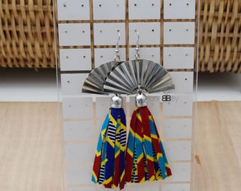 African fabric tassel earrings, afro earrings, afro jewellery, gift for her, ankara fabric, wax print jewellery
