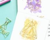 2018 multisize Calendar - Printable gemstones birthstones gems jewels crystals - Instant download - 8.5x11 - 3x5 - 5X7 - Gold & Watercolor