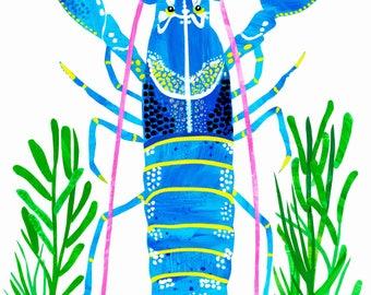 Limited edition Giclée blue lobster crawfish illustration