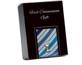 First Communion Blue Stripe Tie with Silver Chalice Tie Pin Gift Set in Gift Box (FCTB-Blue/Silver)