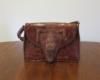 """Vintage 1940s 1950s leather alligator purse brown glass eyes 11 1/2"""" by 8"""" (122116)"""