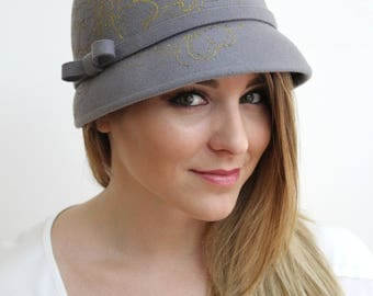 Gray Wool Felt Cloche with Gold Floral Pattern