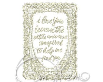 MACHINE EMBROIDERY DESIGN - I Love you qoute2, I love you embroidery, Valentines day