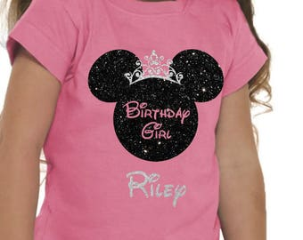 Disney Birthday Shirt, Birthday Girl, Minnie Shirt, DIsney Vacation, Birthday Girl, Glitter, girl, Princess