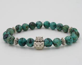 Owl Blue Beaded Bracelet Stretchy FREE SHIPPING