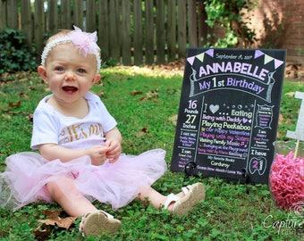 First Birthday Chalkboard Girl - Girl Birthday Party - Girl 1st Birthday Party Decorations - Girl First Birthday Party