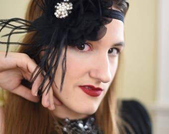 Great Gatsby Headband - 1920s Headpiece - Black Flapper Headband - Roaring 20s Headband for Women - Black Feather Headband Photo Prop