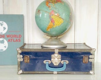 Blue Metal Suitcase, Small Retro Trunk, Rusty Chippy-Paint, Storage Solution, Stackable Suitcase, Clean Interior, lindafrenchgallery