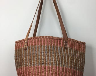 striped woven jute beach bucket bag w/ leather strap handles 70s
