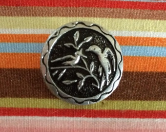 Ornate Mother and Baby Bird Button, Spring Button