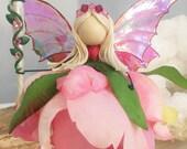 Flower Fairy, Art Doll, Knick Knack, Tinker Bell, Faerie Figurine, Pretty Ornament, Gift For Her, Girls Room, Luna Moth, Swarovski Crystal