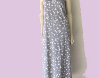 90's Vintage Heather Grey French Terry Knit Spaghetti Strap Shift Dress