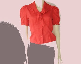 Awesome 70's/80's Vintage Cherry red Ruffle Sailor Collar Puff Sleeve Tie Front Blouse