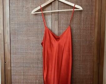 1990's Vintage 'Magic Silk' Red 100% Silk Adjustable Strap Slip Size M