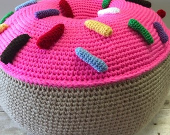 Giant Crochet Donut, Crochet Donut, Donut Foot Stool, Knitted Donut, Oversized Donut, Pink Donut with Sprinkles, Donut Gift, Donut Pillow