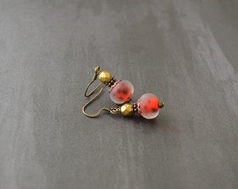 Ladybug vintage style earrings, handmade earrings, vintage earrings, red and gold earrings, elegant earrings, gift for her, under 25 dollar.