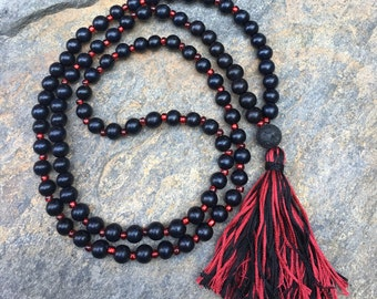 Long Beaded tassel necklace garnet & black wood beaded necklace Bohemian necklace boho necklace ladies jewelry Game Day accessories lava