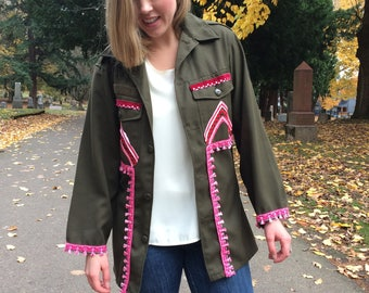 Embellished Army Jacket Shirt / Boho Upcycled Reworked Reclaimed Top w/ Pink Tassel Trim Women's Small Handmade OOAK