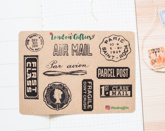 Postal stamps - decorative vintage look kraft watercolour planner stickers suitable for any planner -464-