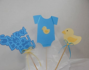 Sweet Baby Boy Baby Shower Centerpiece Picks