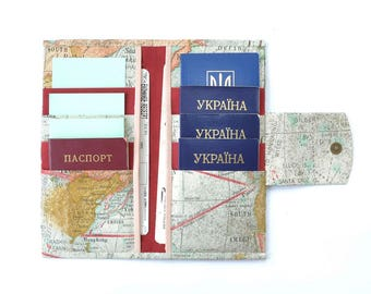 8 passport wallet Family passport holder Family passport wallet Family gift Travel wallet Travel accessories Map print World map