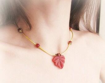 Stone leaf choker necklace, carnelian necklace, carved stone leaf pendant necklace, orange leaf gemstone necklace, maple leaf necklace