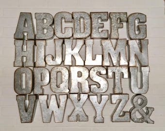 Galvanized Metal Initials Metal Letterscorrugated Metalwall Decorgalvanized Metal